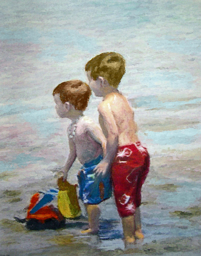 Water Painting  Painting - Boys On The Beach by Lamarr Kramer