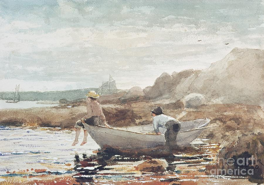 Boys On The Beach (w/c On Paper) By Winslow Homer (1836-1910) Rowing Boat; Fishing; Boy; Male; Children; Child; Playing; Summer; Coast; Coastal; Rocks; Rocky; Boat Painting - Boys On The Beach by Winslow Homer