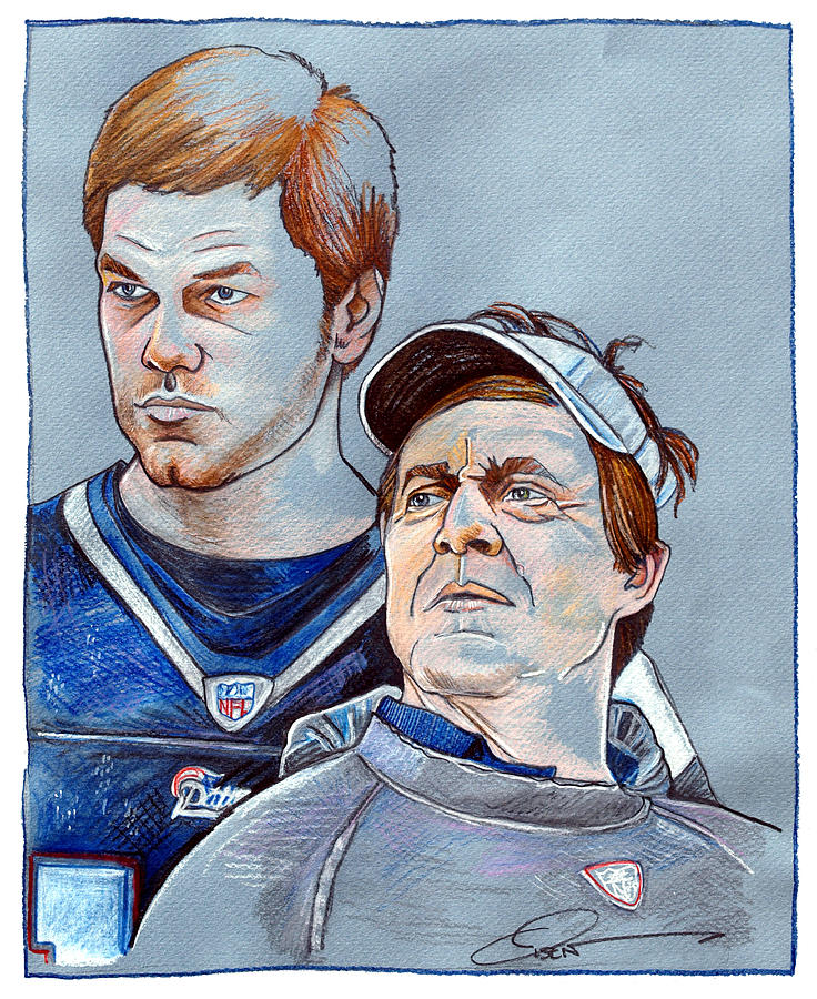 Tom Brady Drawing - Brady And Belichick by Dave Olsen