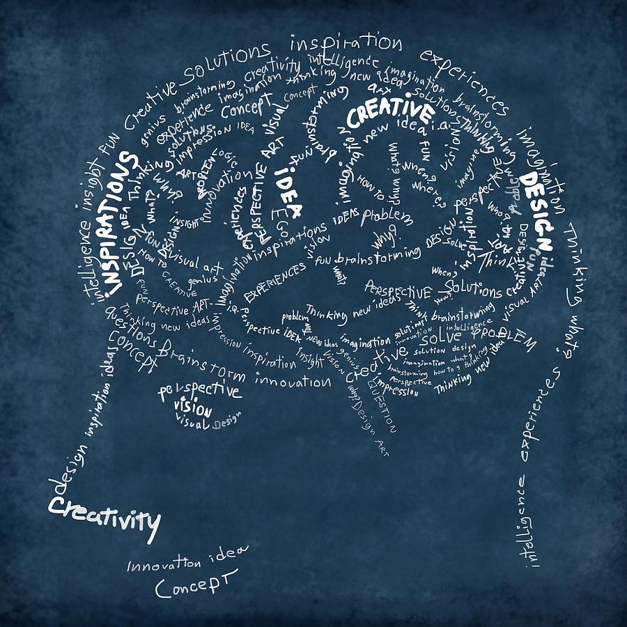 Anatomy Photograph - Brain Drawing On Chalkboard by Setsiri Silapasuwanchai