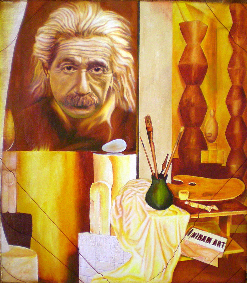 Oil Painting - Brancusi   E Mc2 II by Romeo Niram