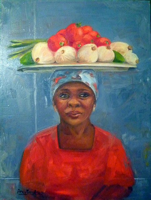 Vegetables Seller Painting - Brasilian Woman  by Ana Boulain