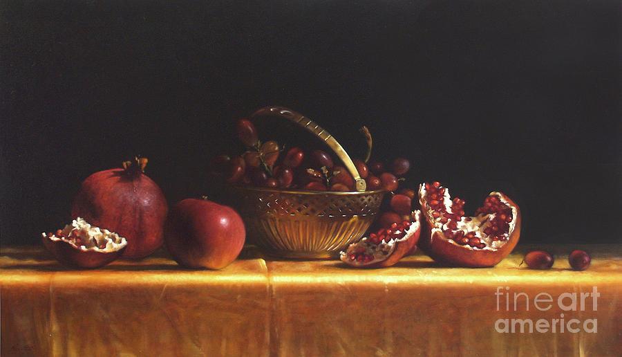 Pomegranate Painting - Brass Basket by Larry Preston