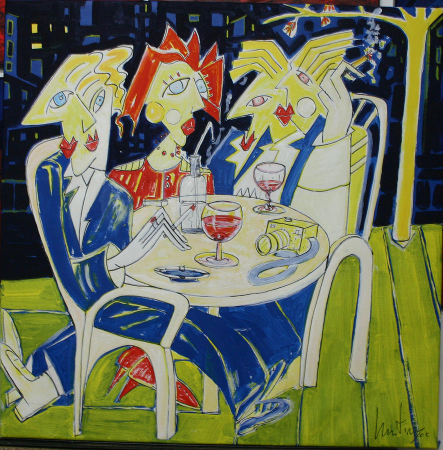 Brasserie chartier une nuit a paris painting by manuel martin for Une nuit a paris