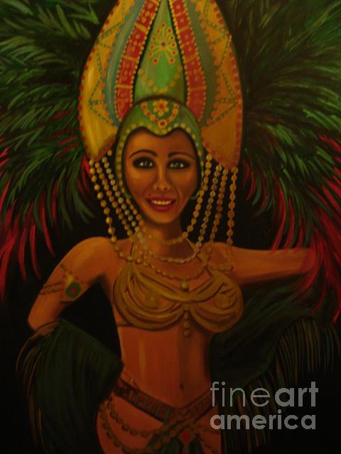 Mardi Gra Painting - Brazilian by Linda Mungerson