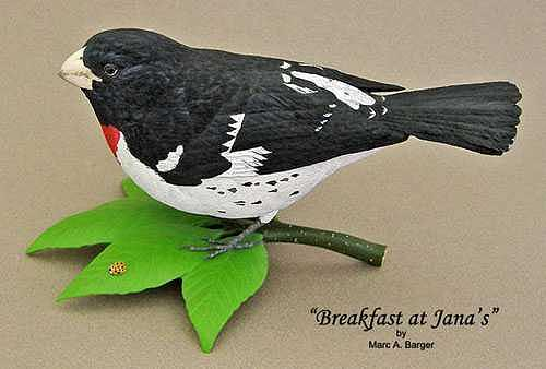 Rose Breasted Grosbeak Sculpture - Breakfast At Janas by Marc  Barger