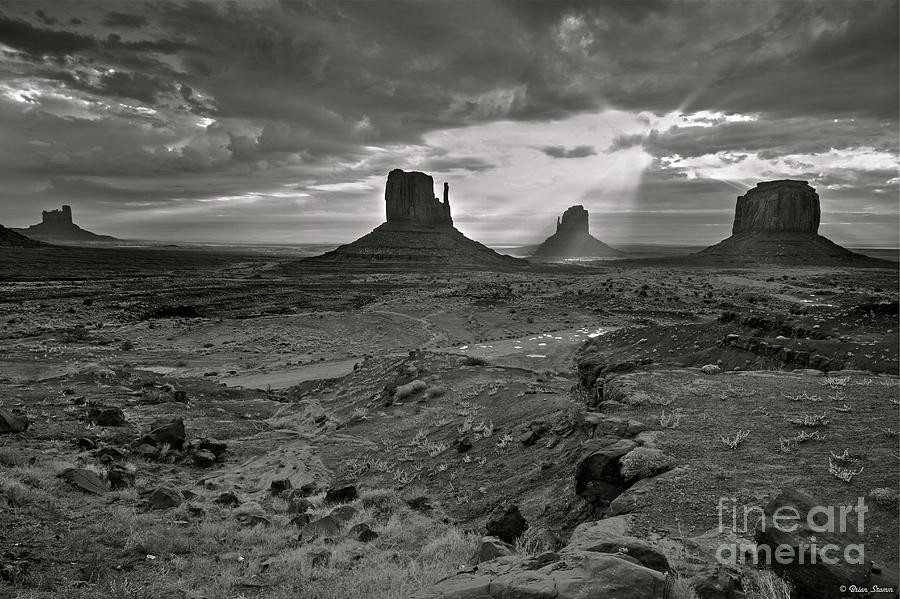 Monument Valley Photograph - Breaking Light At Monument Valley - Black And White by Brian Stamm
