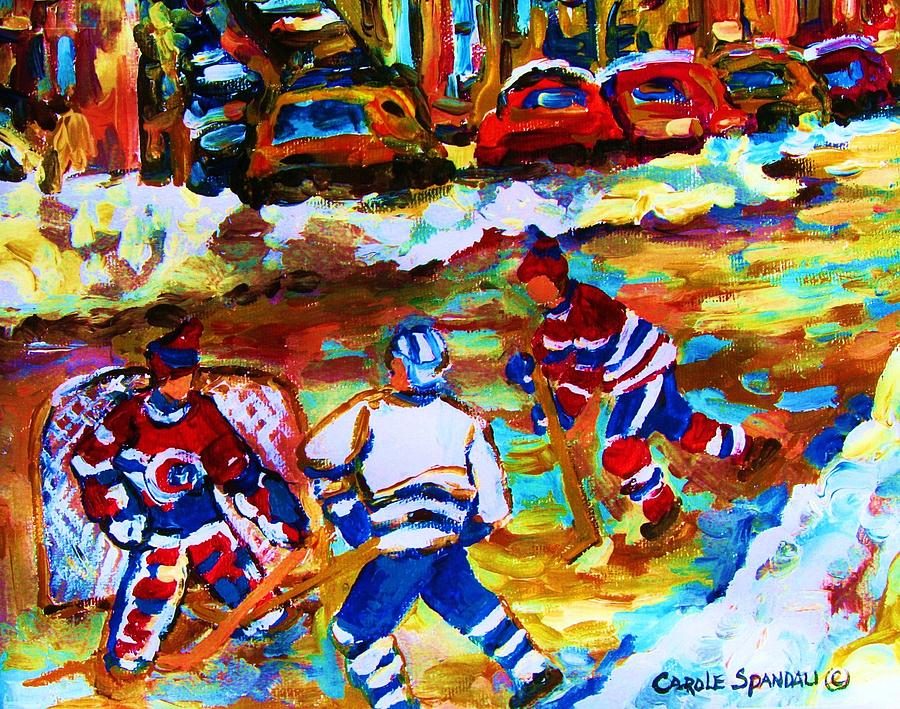 Streethockey Painting - Breaking  The Ice by Carole Spandau