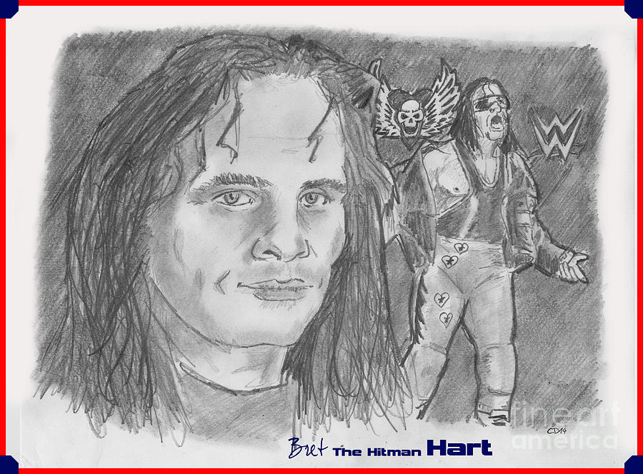 Hart Foundation Drawing - Bret The Hitman Hart by Chris  DelVecchio