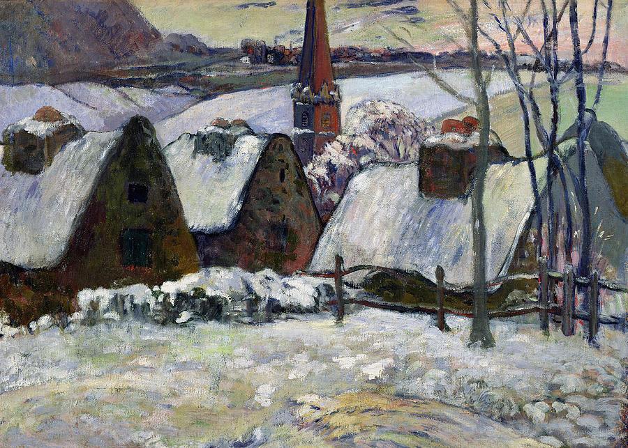 Breton Village Under Snow Painting - Breton Village Under Snow by Paul Gauguin