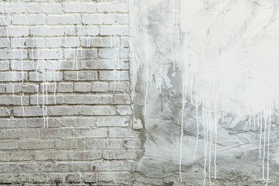 Brick Texture White Paint Dripping Grunge Background Photograph