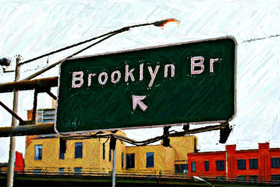 Highway Sign Digital Art - Bridge Thisaway Sketch by Randy Aveille