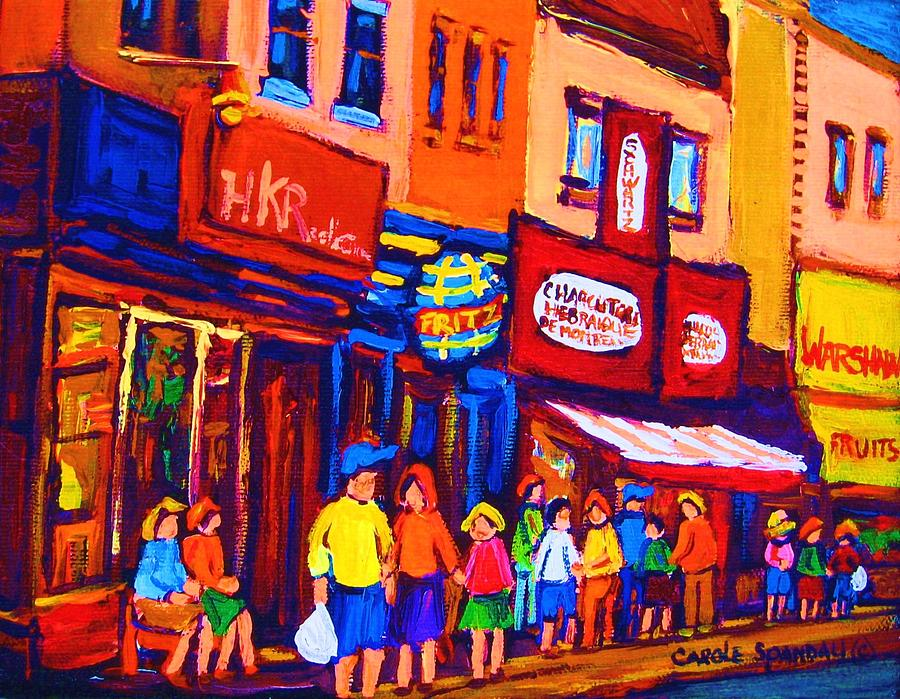 Schwartz's Hebrew Deli Painting - Bright Lights On The Main by Carole Spandau