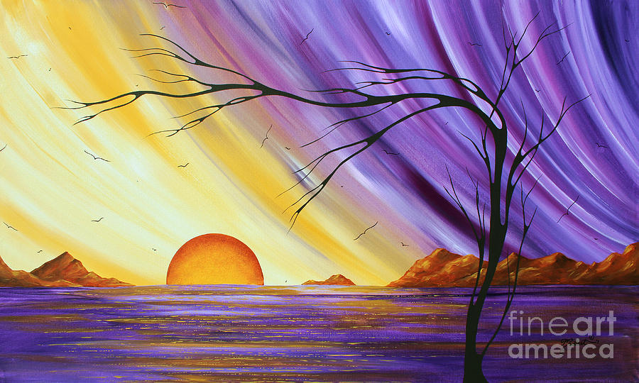 Abstract Painting - Brilliant Purple Golden Yellow Huge Abstract Surreal Tree Ocean Painting Royal Sunset By Madart by Megan Duncanson