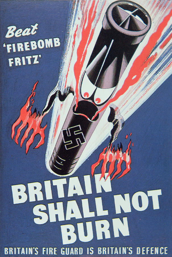 Missile;bomb;london;angry;second World War;wwii;ww2;fire;luftwaffe;blitzkrieg;propaganda;morale Booster;boosting;firebombing;2nd;2 Painting - Britain Shall Not Burn by English School