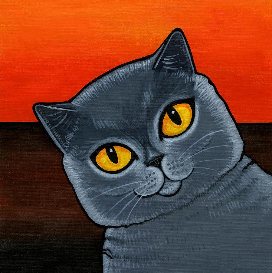 British Shorthair Cat Painting - British Shorthair by Leanne Wilkes