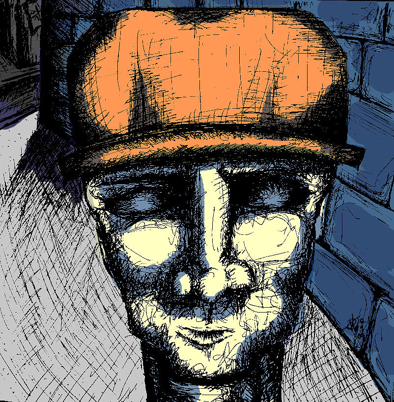 Man Creepy Brick Wall Blue Muted Anger Fear Lurking Behind The Corner Alley Alleyway Orange Hat Stone Sketch Drawing Scratchings Eerie Surprise Drawing - Brixx by Jera Sky