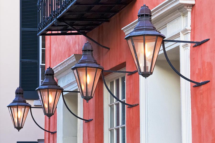 Aged Photograph - Broad Street Lantern - Charleston Sc  by Drew Castelhano