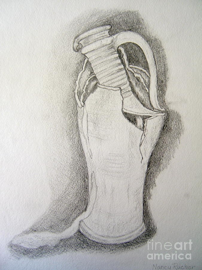 Pencil Drawing Of Spanish Pitcher Drawing - Broken Dreams by Nancy Rucker
