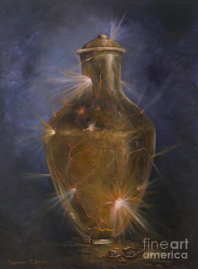 Golden Jar Painting - Broken Vessel by Deborah Smith