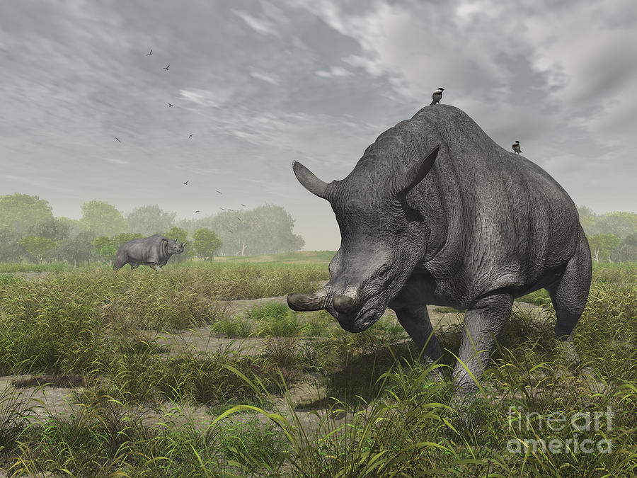 Earth Digital Art - Brontotherium Wander The Lush Late by Walter Myers