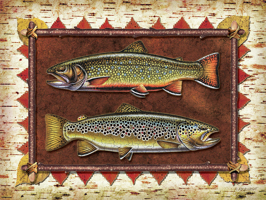 Brook And Brown Trout Lodge Painting