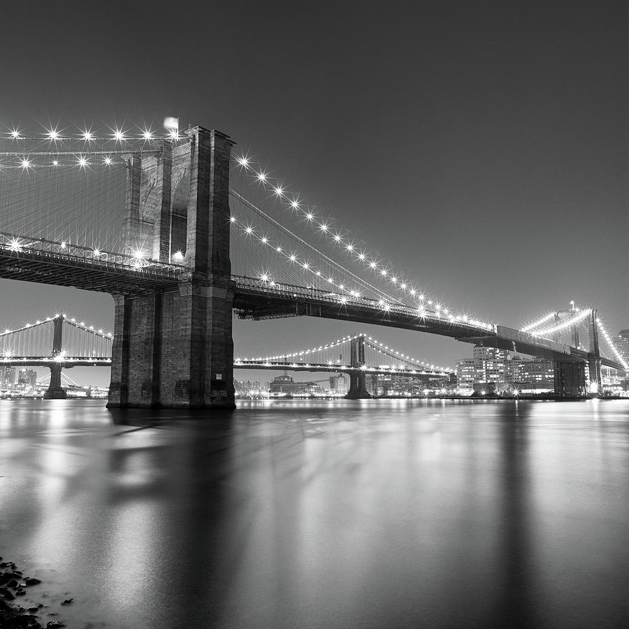 Brooklyn Bridge At Night Photograph by Adam Garelick