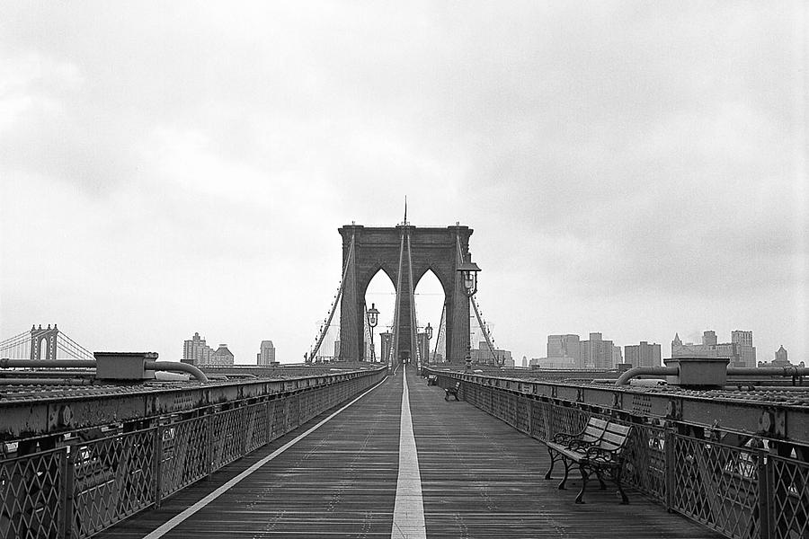 Brooklyn Bridge Black And White Panorama by Brooklyn Prints