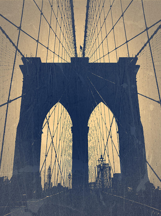 Brooklyn Bridge Photograph - Brooklyn Bridge Blue by Naxart Studio