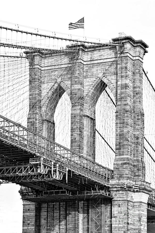 Brooklyn Bridge In Black And White Photograph by Regina ...