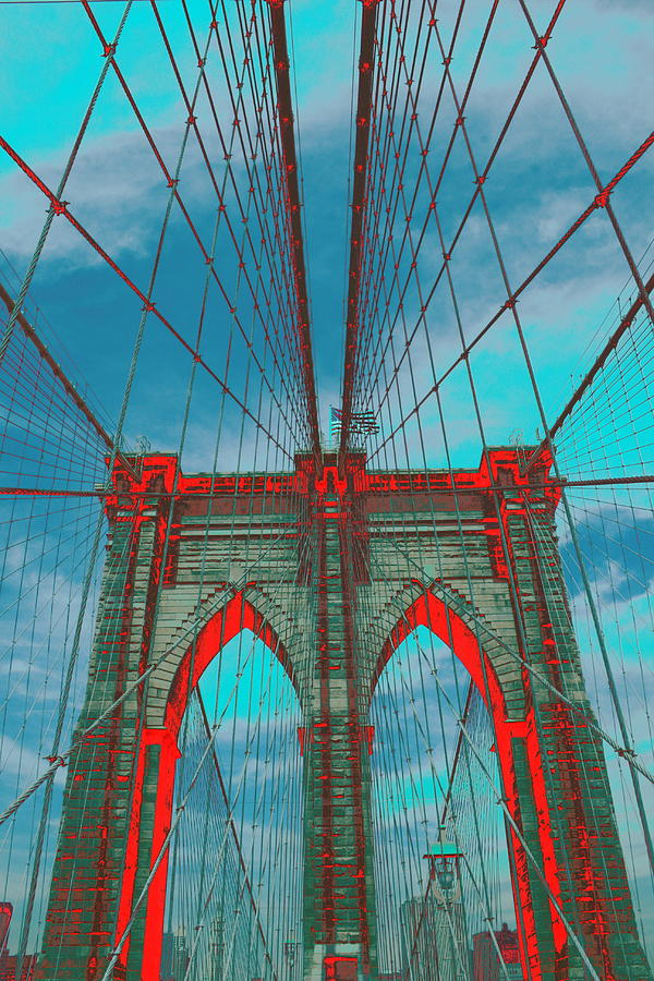 Brooklyn Bridge Psychedelic Photograph - Brooklyn Bridge Red Shadows by Christopher Kirby