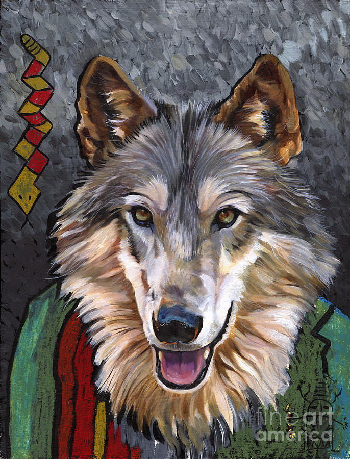 Wolf Painting - Brother Wolf by J W Baker