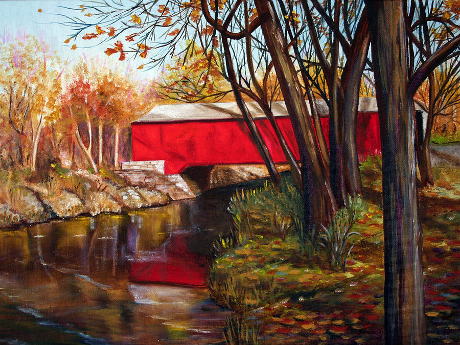 Fall Painting - Brown County Bridge by Dorothy Riley