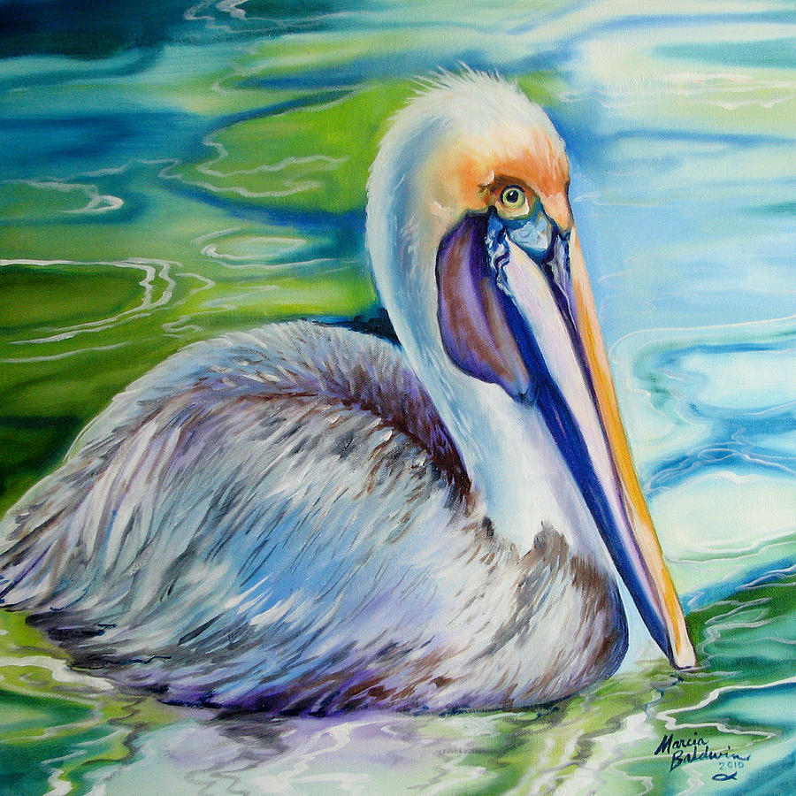 Birds Painting - Brown Pelican Of Louisiana by Marcia Baldwin