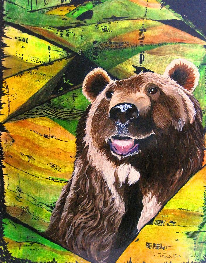 Bears Painting - Brownie by David Raderstorf