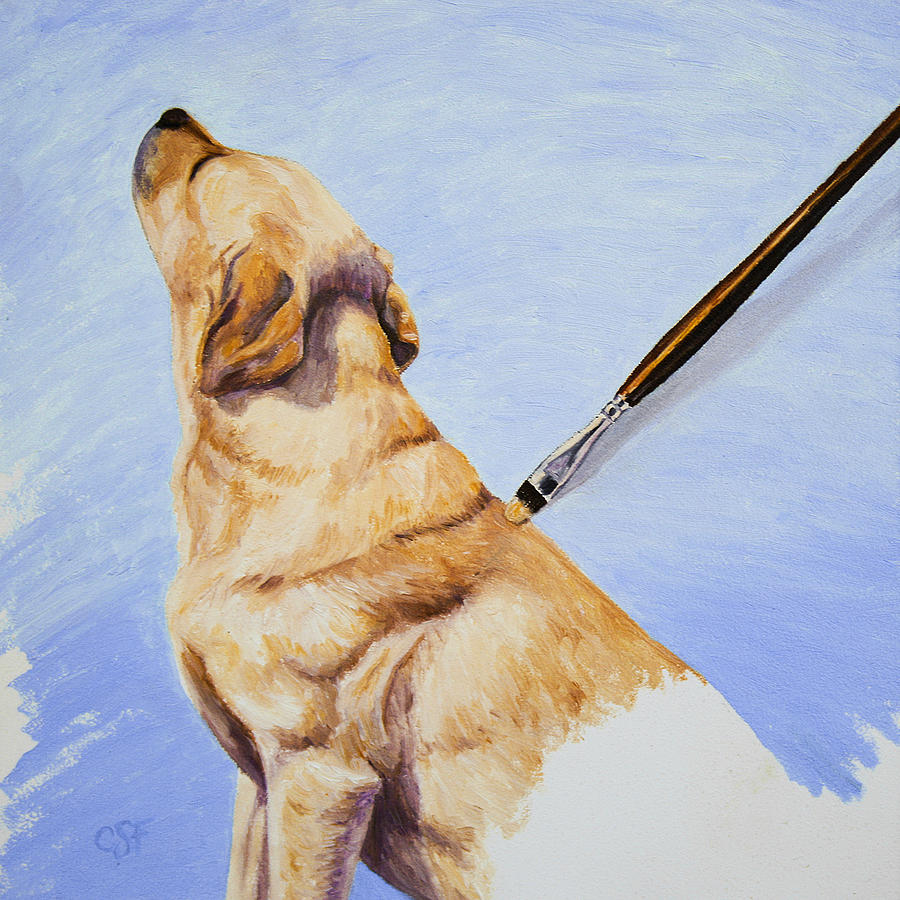 Dog Painting - Brushing The Dog by Crista Forest