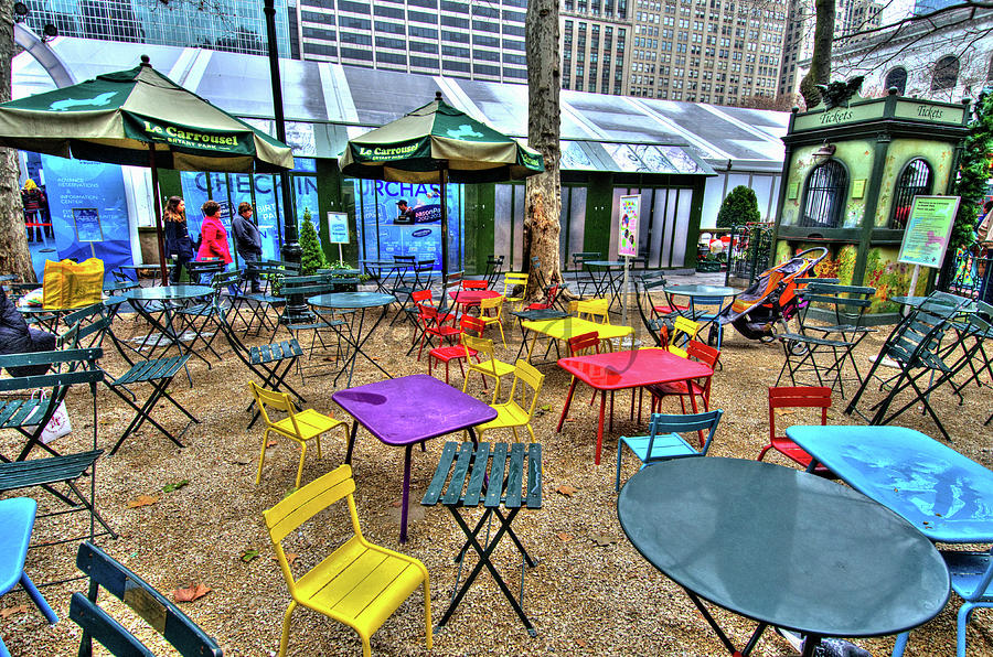 Bryant Park Photograph - Bryant Park In Vivid Color by Laura Bode