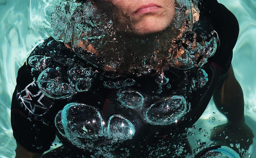 Diving Photograph - Bubble Maker. Lady Diver by Jenny Rainbow