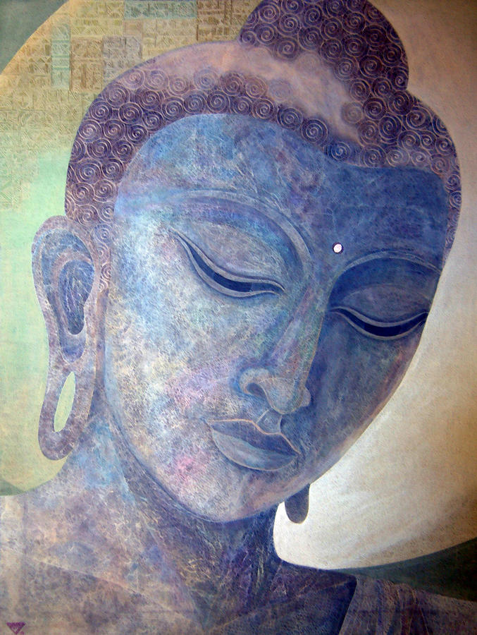 Buddha Alive In Stone Painting