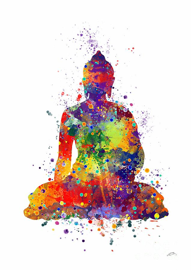 Buddha Watercolor Print Digital Art - Buddha Watercolor by Svetla ...