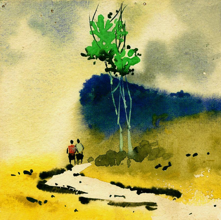 Landscape Painting - Buddies by Anil Nene