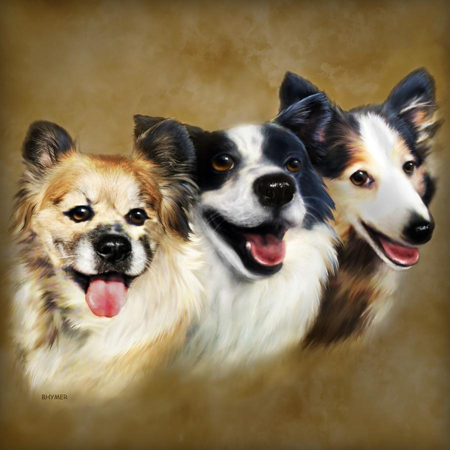 Dogs Painting - Buddies by Barbara Hymer