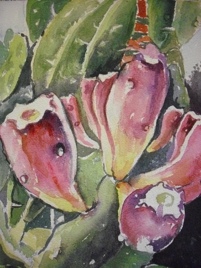 Southwest Painting - Budding Cactus In Spring I by Aleksandra Buha