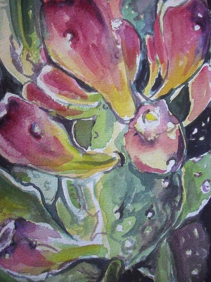 Southwest Painting - Budding Cactus In Spring IIi by Aleksandra Buha