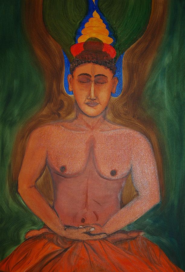 Spritual Painting - Budha In Nirvana by Harpreet Singh