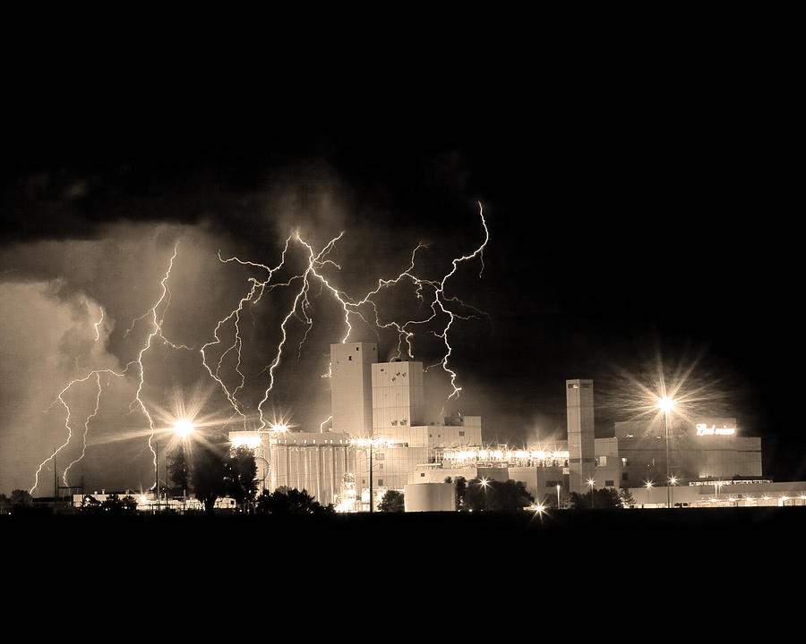 Budweiser Lightning Thunderstorm Moving Out Bw Sepia Crop Photograph