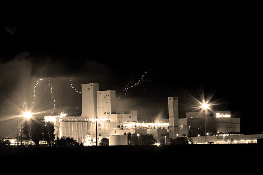 40d Photograph - Budwesier Brewery Lightning Thunderstorm Image 3918  Bw Sepia Im by James BO  Insogna