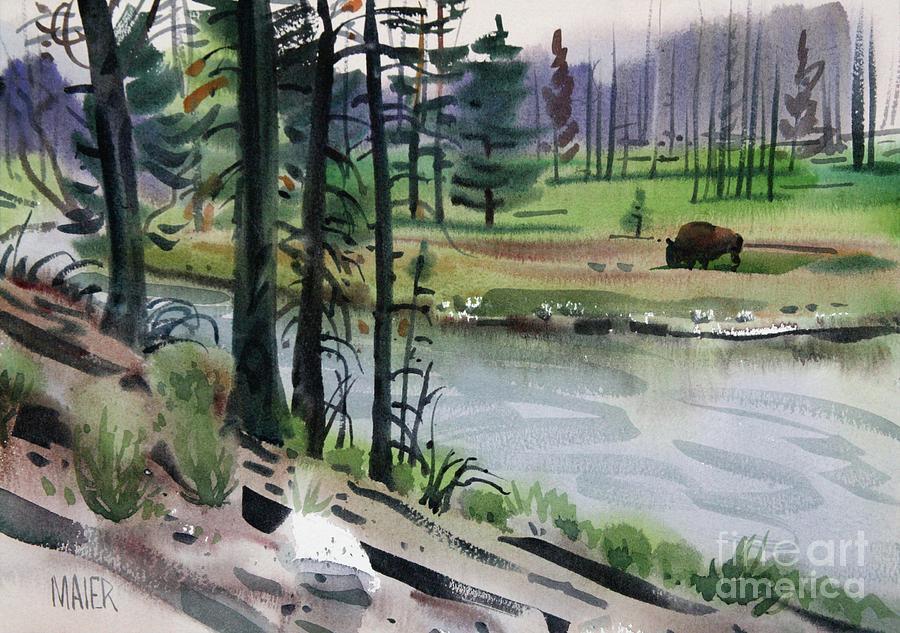 Buffalo Painting - Buffalo In Yellowstone by Donald Maier