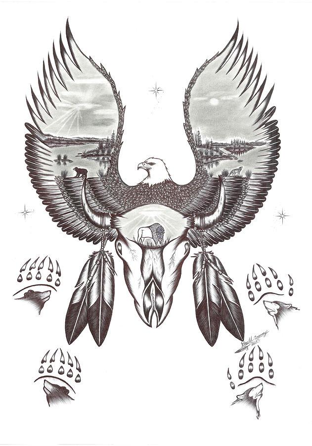Buffalo Skull And Paw Prints Drawing By Donald Tssessaze Jr
