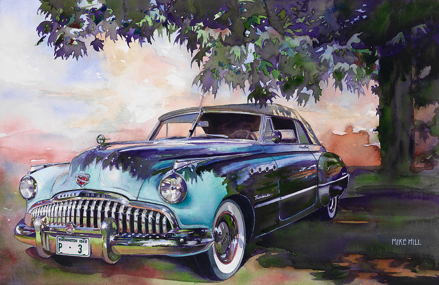 Buick Roadmaster Dynaflow Car Automoblie Convertible Trees Maple Eight Portholes Buick Car Roadmaster Buick Buick Collector Car Antique Cruising 1949 Forties Fifties Buick Hill Watercolor Painting Watercolors Paintings Buick General Motors Trees Shadows Buick Buick Painting - Buick Roadmaster Dynaflow 1949 by Mike Hill